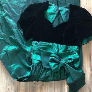 80s 90s black velvet and taffeta green prom dress